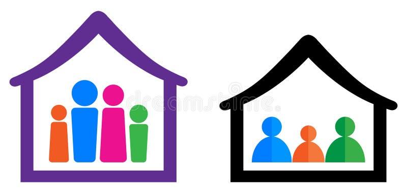 Família e casa ilustração royalty free