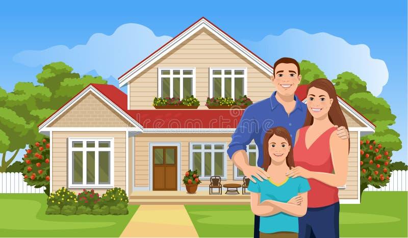 Família e casa europeias felizes ilustração do vetor