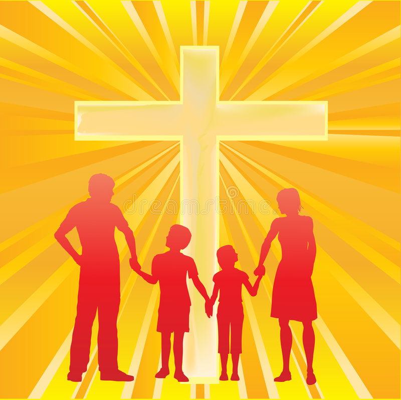 Família e a cruz ilustração do vetor