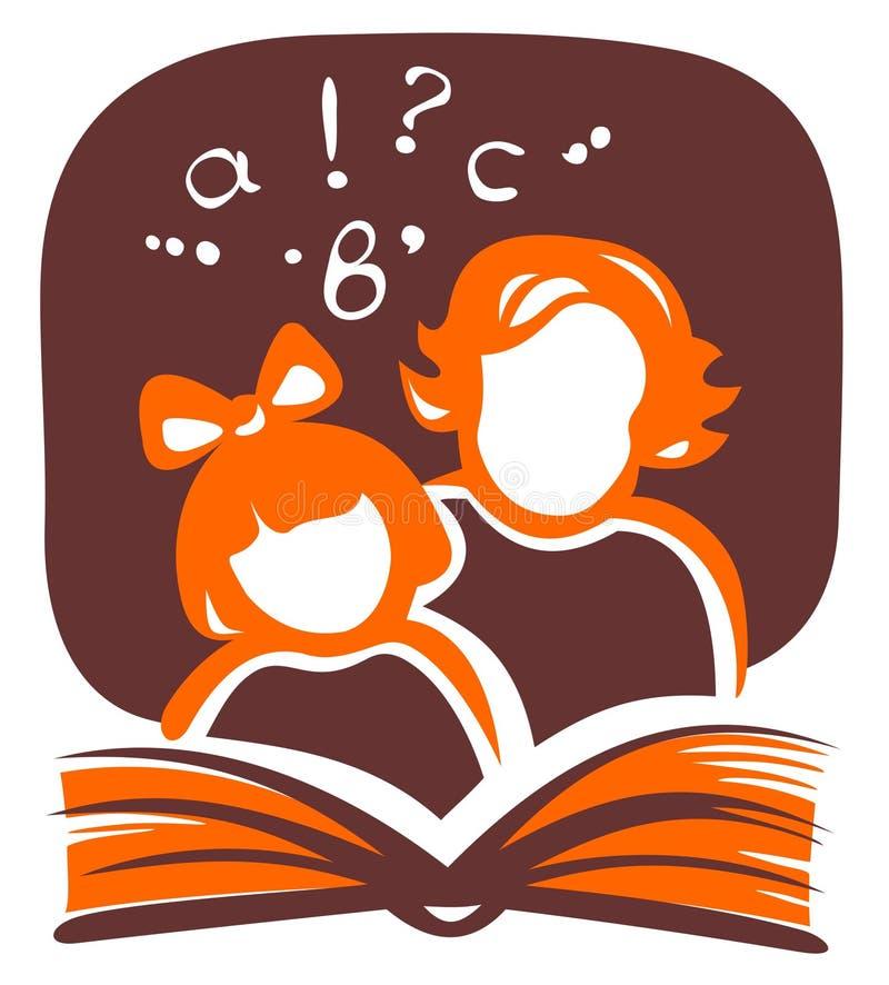 Família e livro ilustração stock