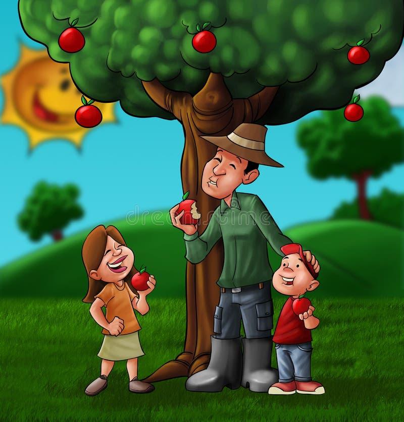 A família e o treee ilustração royalty free