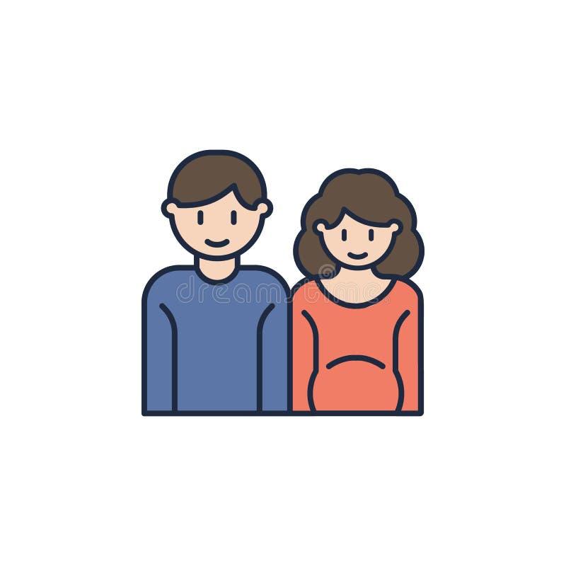 família em antecipação ao ícone colorido criança Elemento do ícone da família para apps móveis do conceito e da Web Família color ilustração royalty free