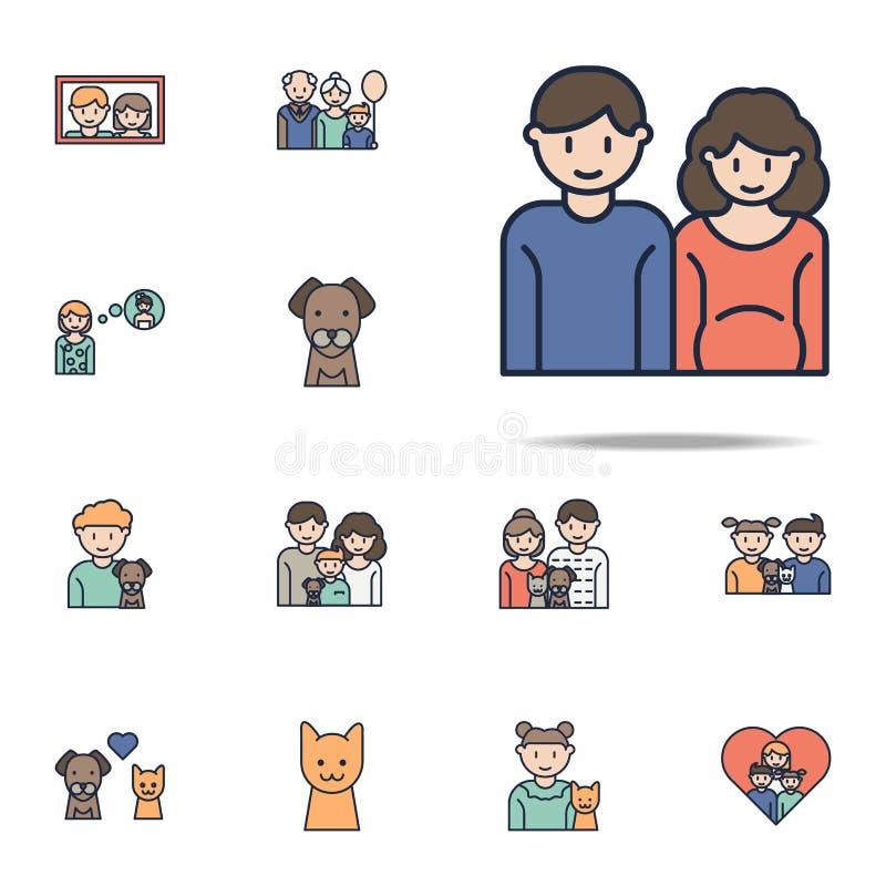 família em antecipação ao ícone dos desenhos animados da criança Grupo universal dos ícones da família para a Web e o móbil ilustração stock