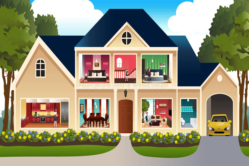 Família em casa ilustração stock