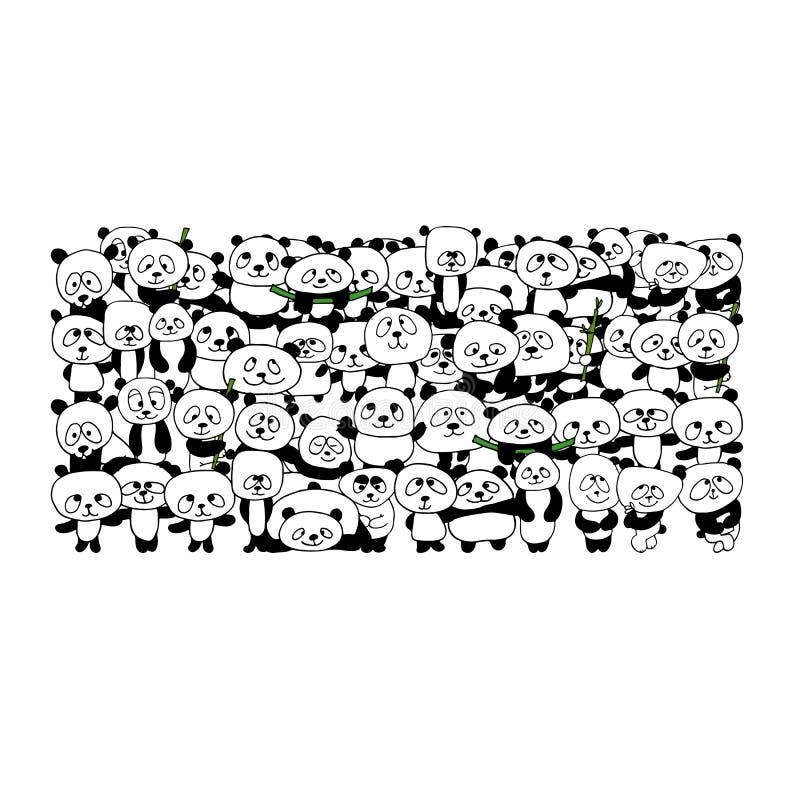 Família engraçada da panda para seu projeto ilustração stock