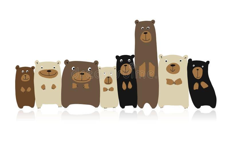 Família engraçada dos ursos, esboço para seu projeto ilustração stock
