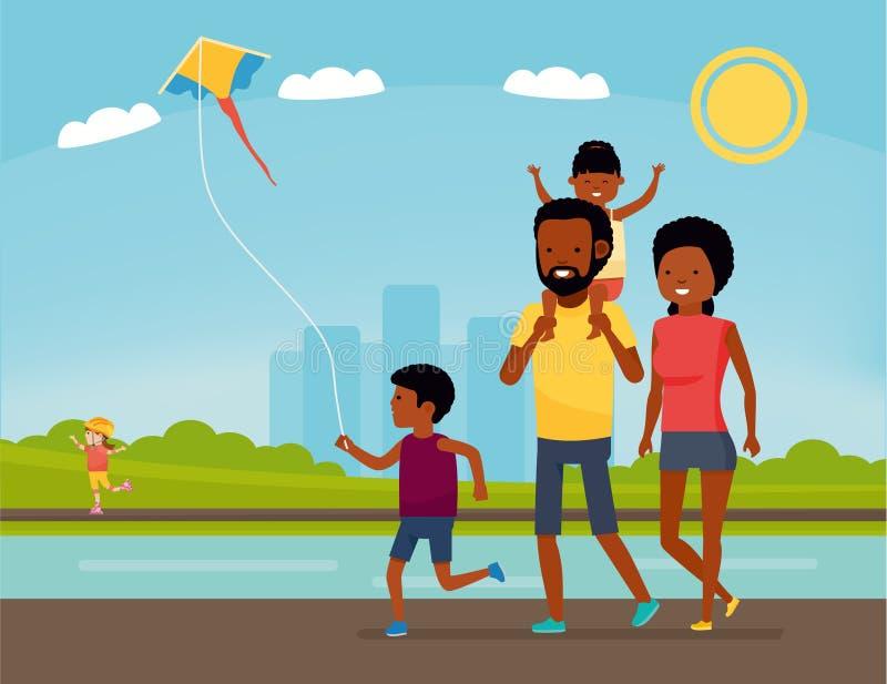 A família está tendo o divertimento em uma natureza Família do americano africano no parque Férias de verão Ilustração do vetor d ilustração stock