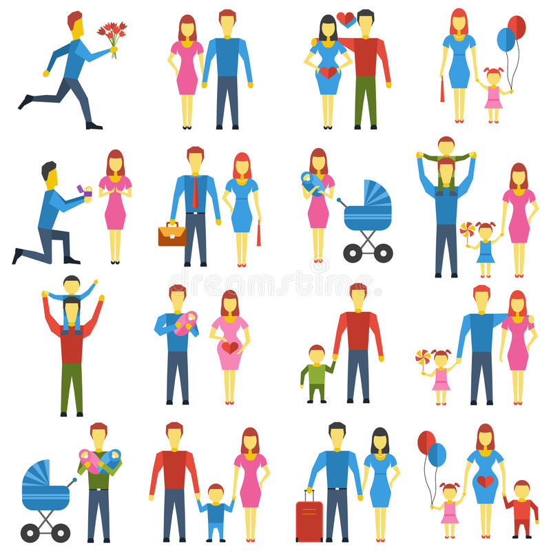 A família estilizou os ícones do vetor ajustados ilustração royalty free