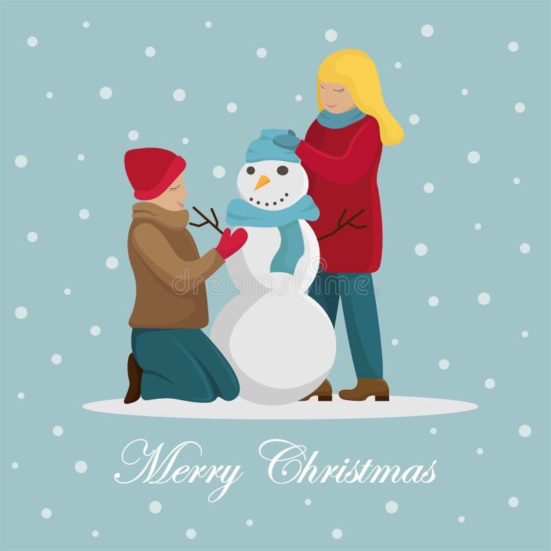 A família faz um boneco de neve antes do Natal ilustração royalty free
