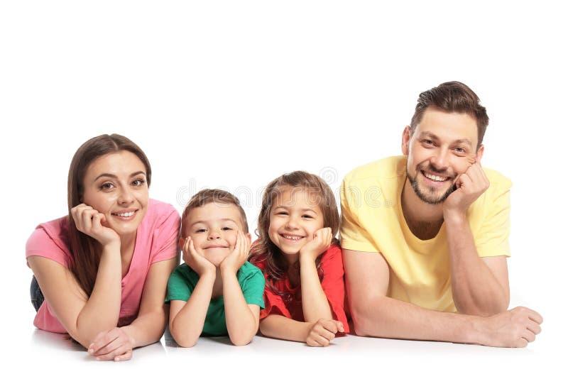 Família feliz com as crianças no fundo branco fotos de stock