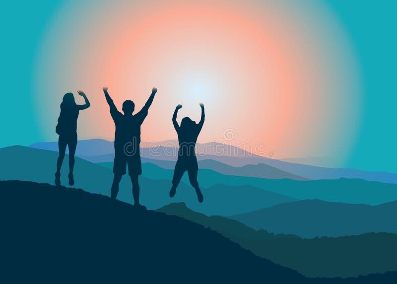 Família feliz com as mãos acima que saltam e que têm o divertimento na parte superior da montanha ilustração stock