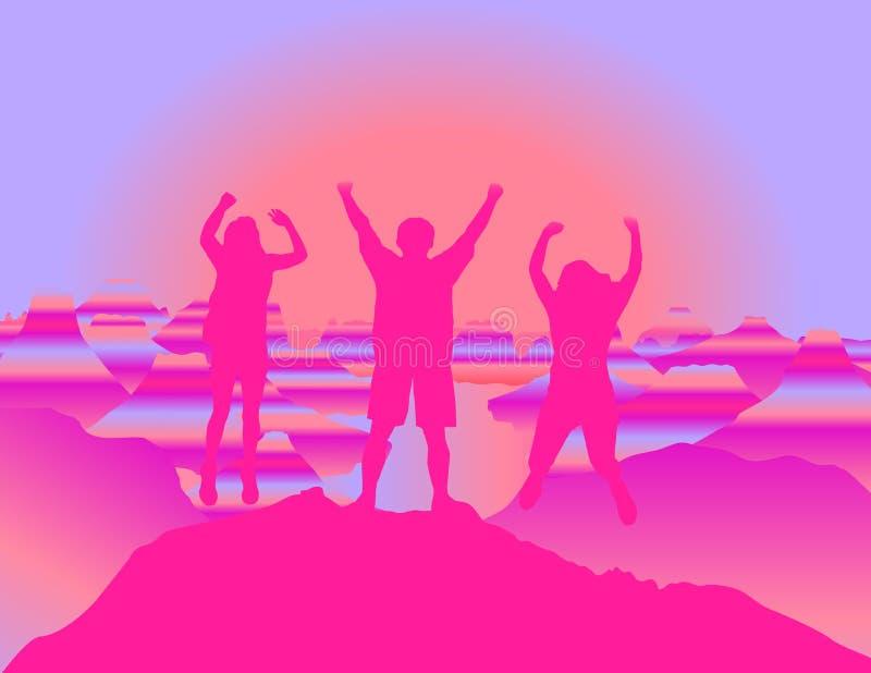 Família feliz com as mãos acima que saltam e que têm o divertimento na parte superior da montanha no por do sol ilustração stock