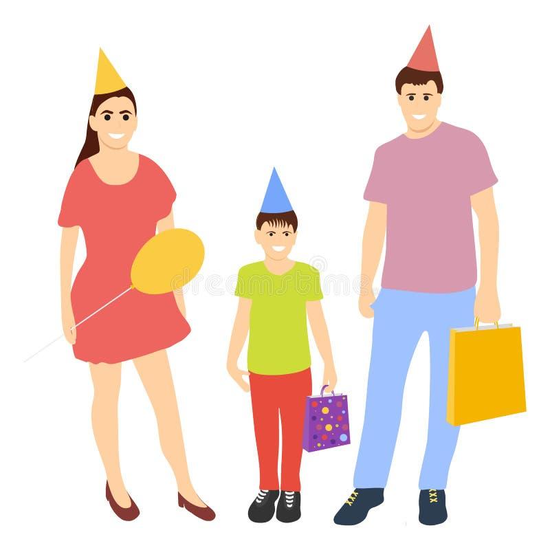 A família feliz com bebê comemora o aniversário em chapéus dos tampões com GIF ilustração stock