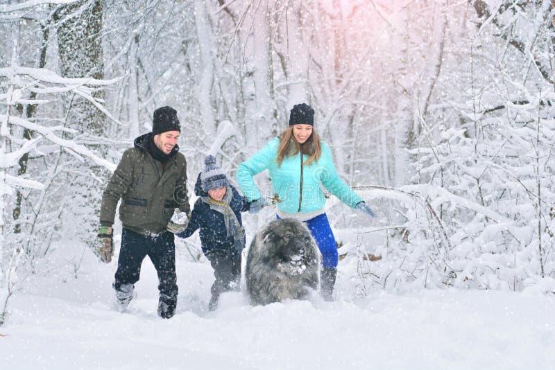 Família feliz com cão fora em uma mãe da floresta do inverno, em um fother, em um filho e em um cão de estimação grande foto de stock