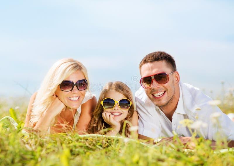 Família feliz com céu azul e grama verde imagem de stock royalty free