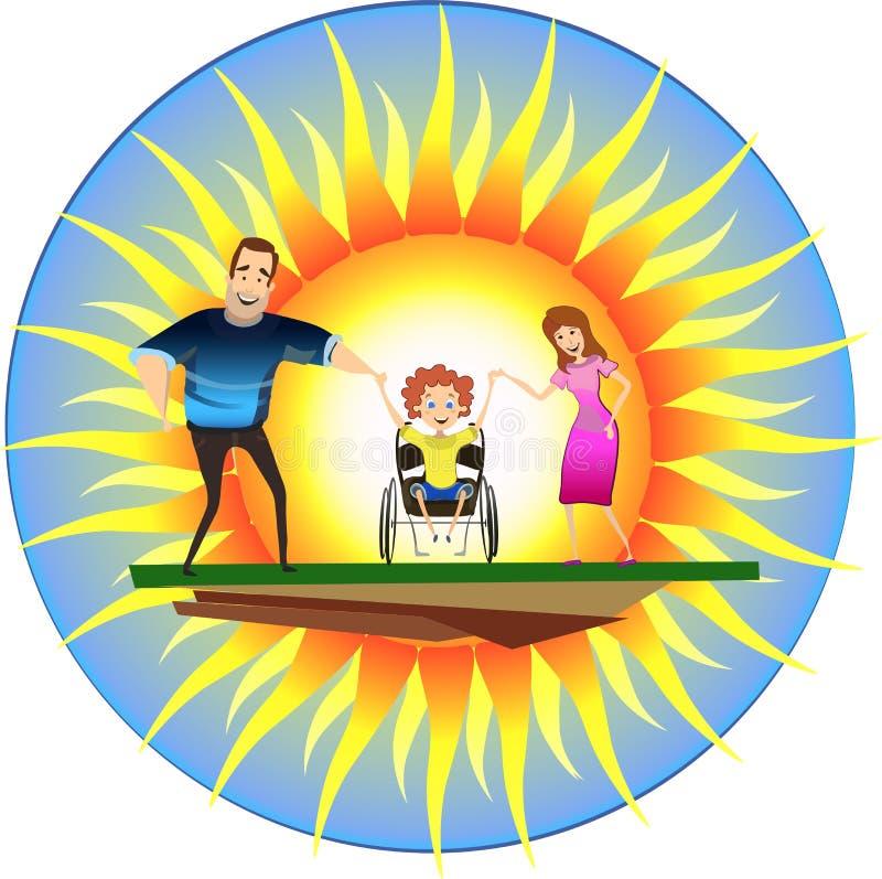 Família feliz com a criança deficiente em cadeiras de rodas na frente do sol imagem de stock