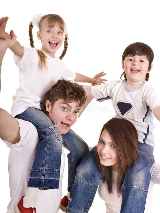 Família feliz com crianças. Criança do cuidado. imagens de stock