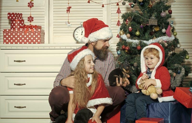 A família feliz comemora o ano novo e o Natal imagem de stock royalty free
