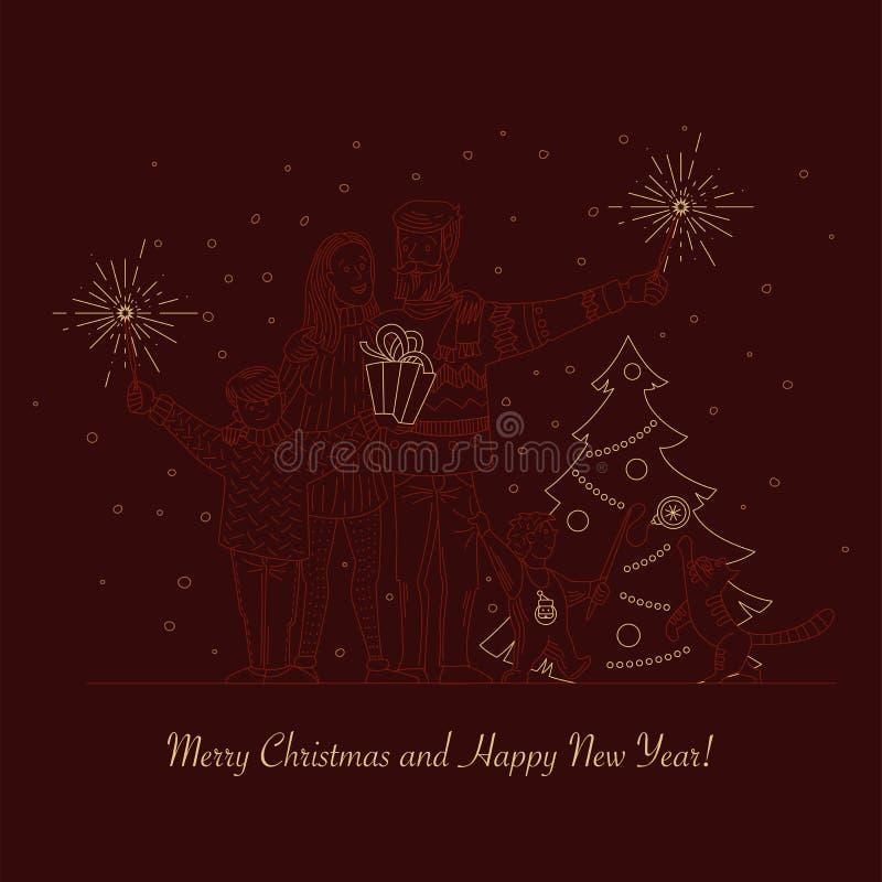 A família feliz comemora o Natal e o ano novo ilustração royalty free