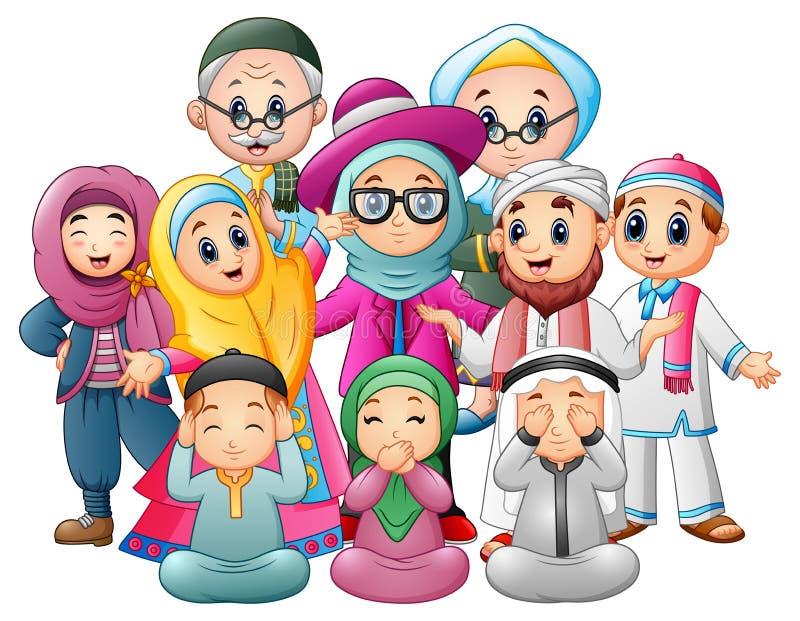 A família feliz comemora para Eid Mubarak ilustração royalty free