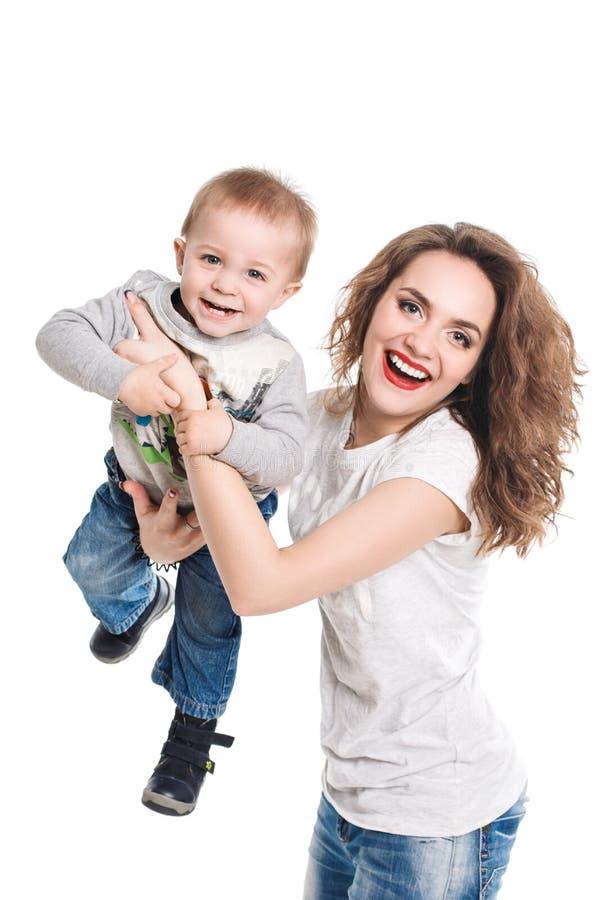 Família feliz da vista de sorriso da mãe e do filho fotos de stock