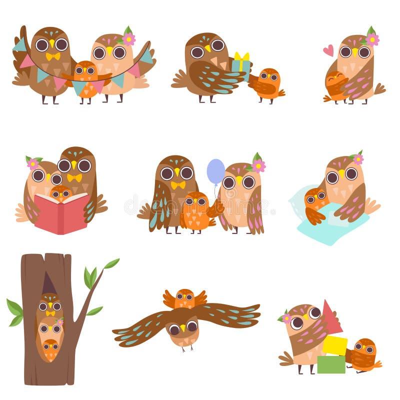 Família feliz das corujas grupo, do pai, da mãe e do seu bebê, ilustração bonito do vetor dos caráteres dos pássaros dos desenhos ilustração do vetor