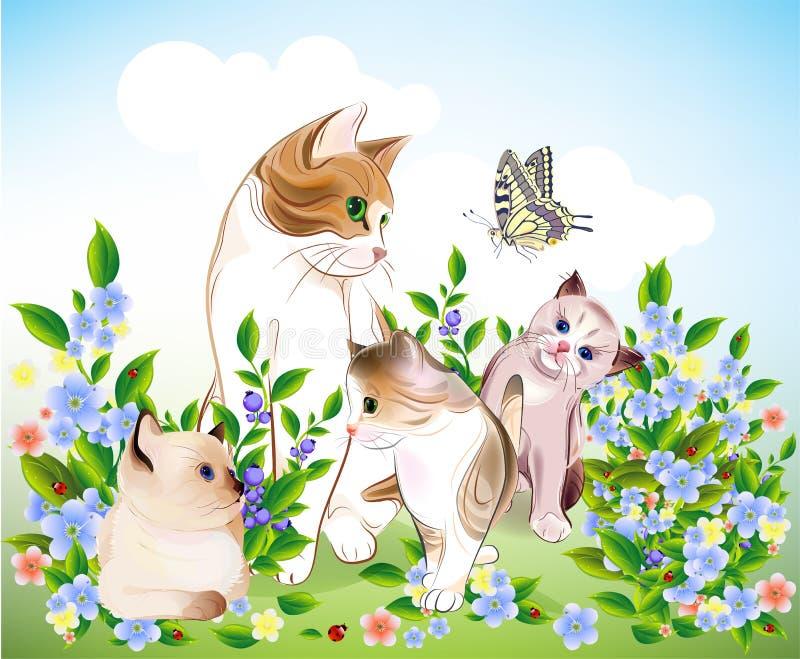 Família feliz de Ñats. ilustração royalty free