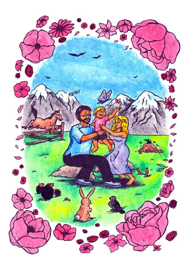 Família feliz de Reiki (2008) ilustração royalty free