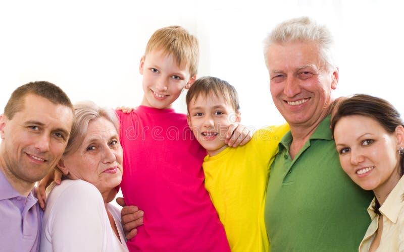 Família feliz de seis povos imagens de stock