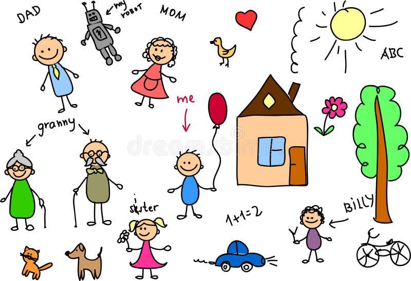 Família feliz, desenho das crianças, vetor ilustração stock
