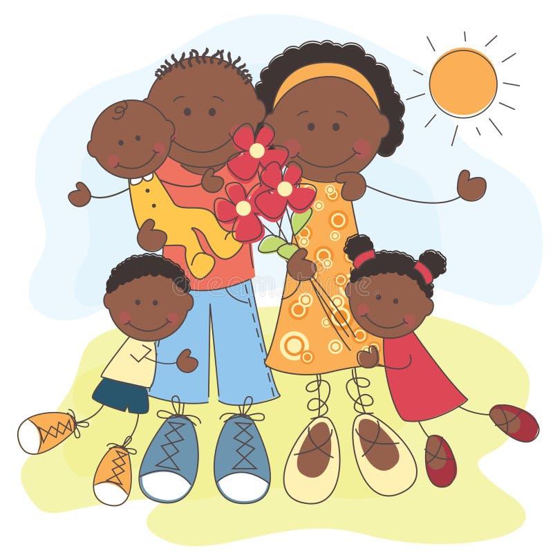 Família feliz do americano africano ilustração do vetor
