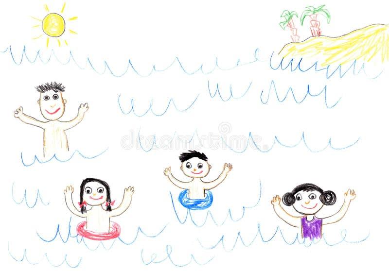 Família feliz do desenho da criança no mar ilustração royalty free