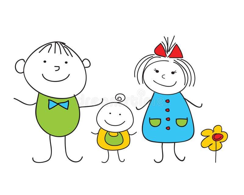 Família feliz do doodle ilustração royalty free