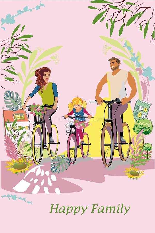 Família feliz do pai, da mãe e das crianças fora entre a natureza e flores verdes Montando as bicicletas ilustração royalty free