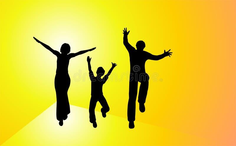 Família feliz do por do sol ilustração stock
