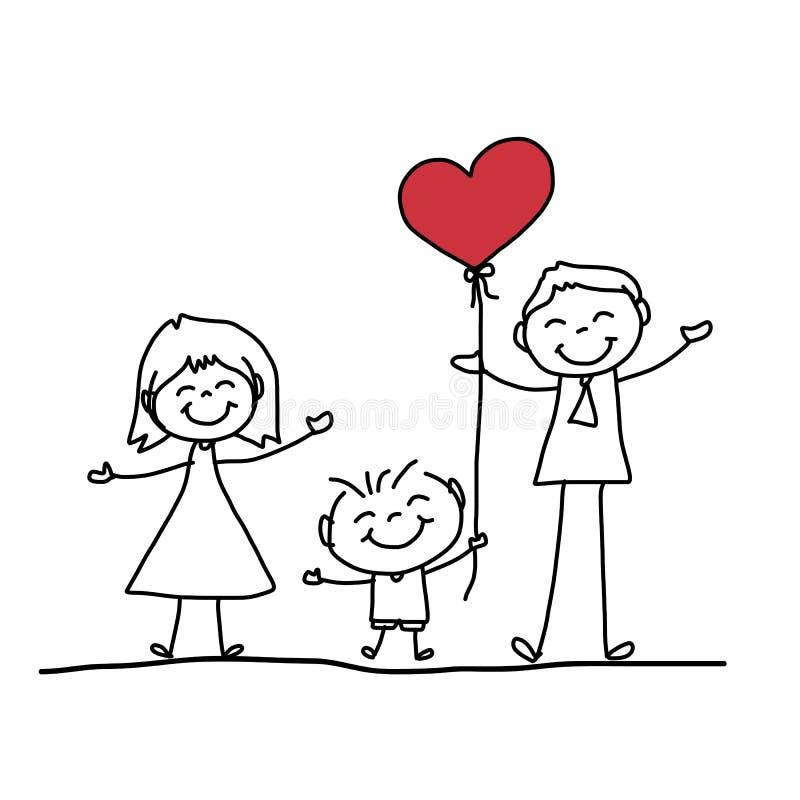Família Feliz Dos Desenhos Animados Do Desenho Da Mão Ilustração Stock -  Ilustração de positivo, desenho: 38317529