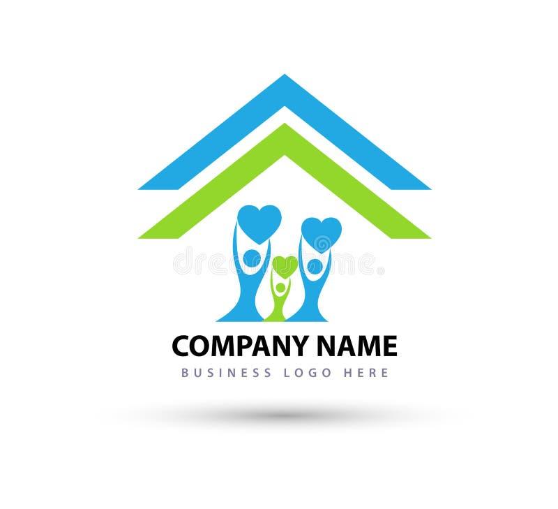 A família feliz em crianças bonitas do pai do coração do logotipo da união da casa da casa ama o ícone parenting do símbolo do cu ilustração stock