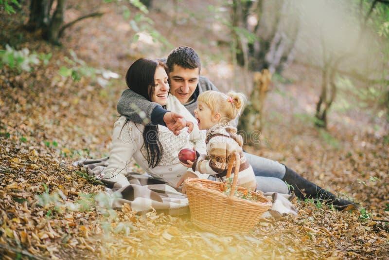 Família feliz em uma floresta do outono foto de stock