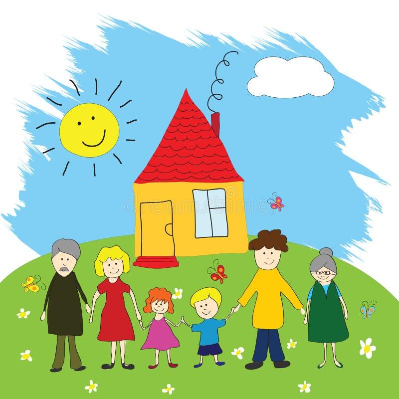 Família feliz, estilo do desenho da criança ilustração stock