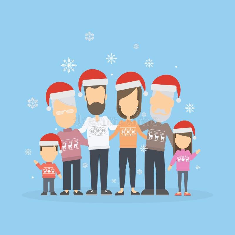 Família feliz grande em chapéus do Natal ilustração stock