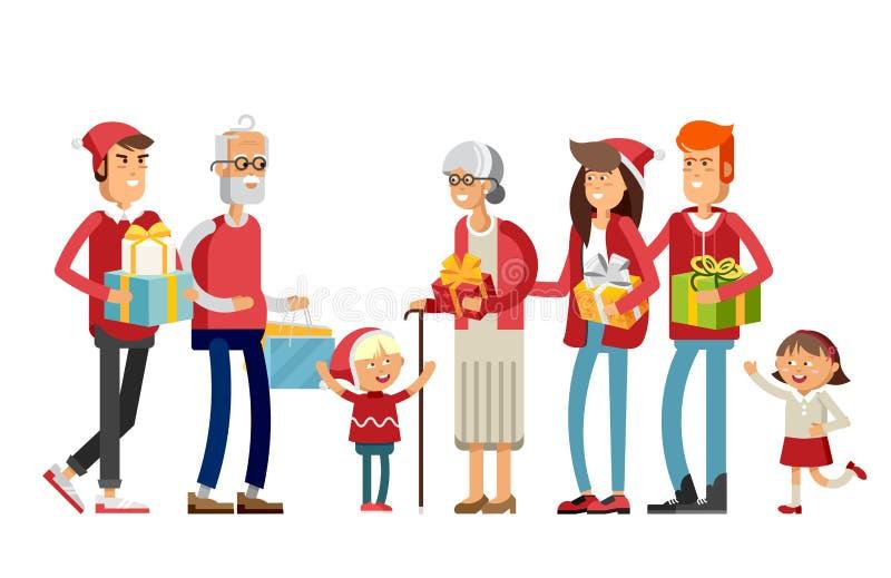 Família feliz grande em chapéus do Natal ilustração royalty free