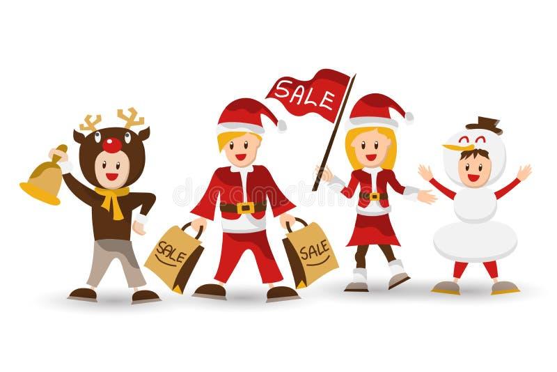 Família feliz grande em chapéus do Natal Avós, pais e ch ilustração do vetor