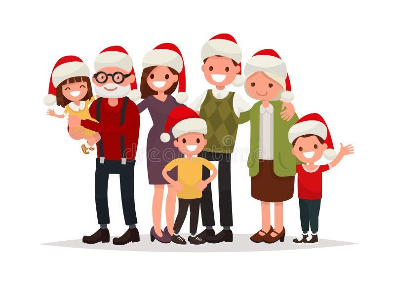 Família feliz grande em chapéus do Natal Avós, pais e ch ilustração royalty free