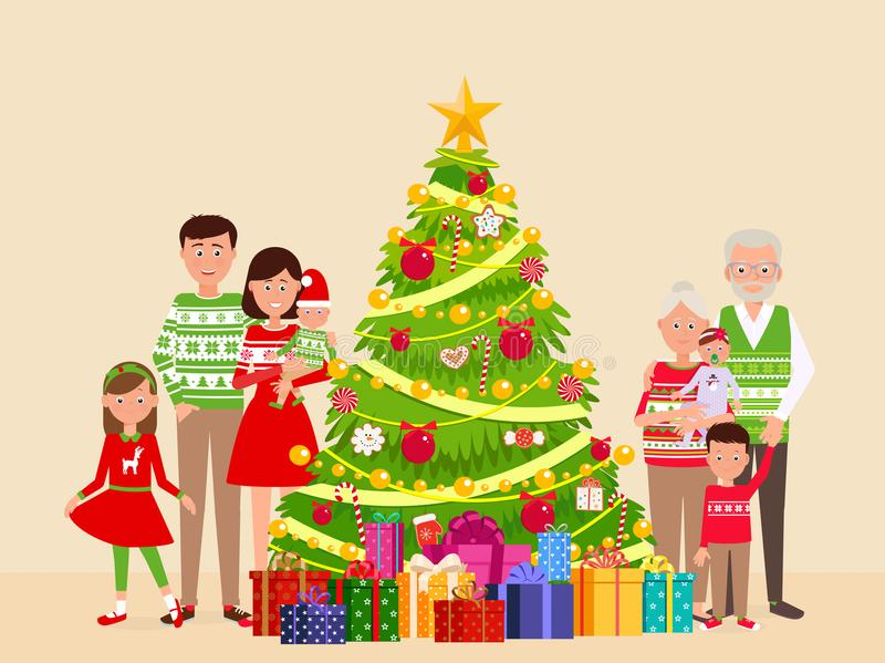 Família feliz grande em uma árvore de Natal ilustração royalty free