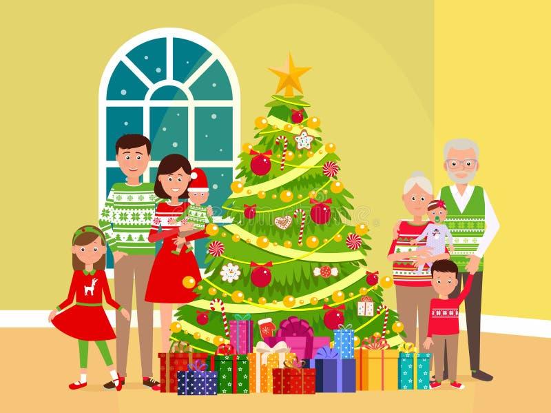 Família feliz grande em uma árvore de Natal ilustração do vetor