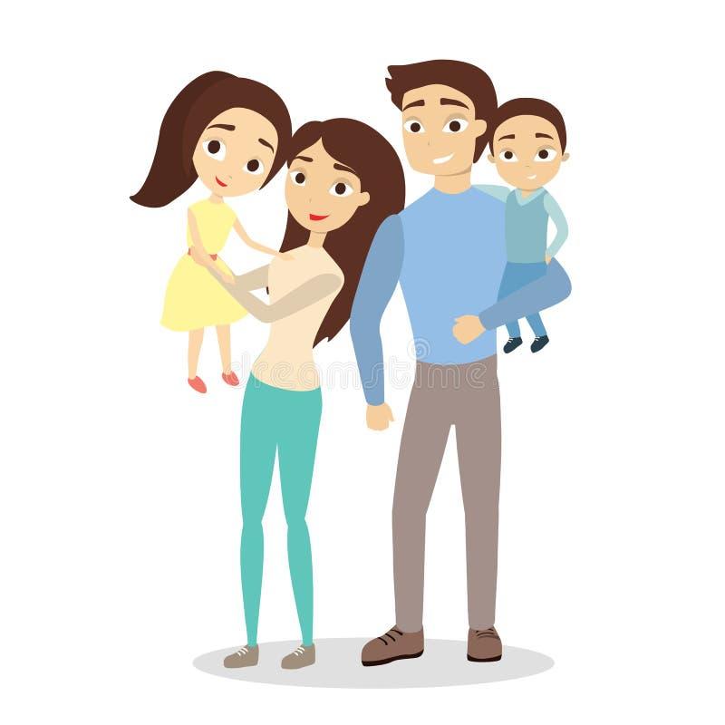 Família feliz isolada ilustração stock
