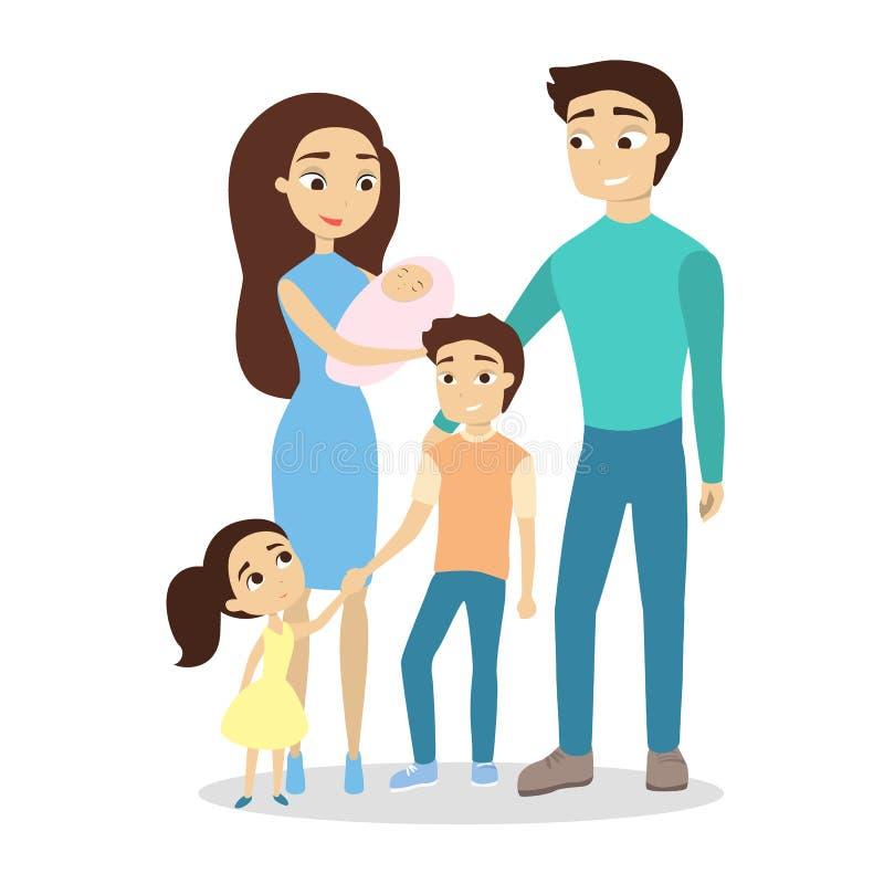 Família feliz isolada ilustração royalty free