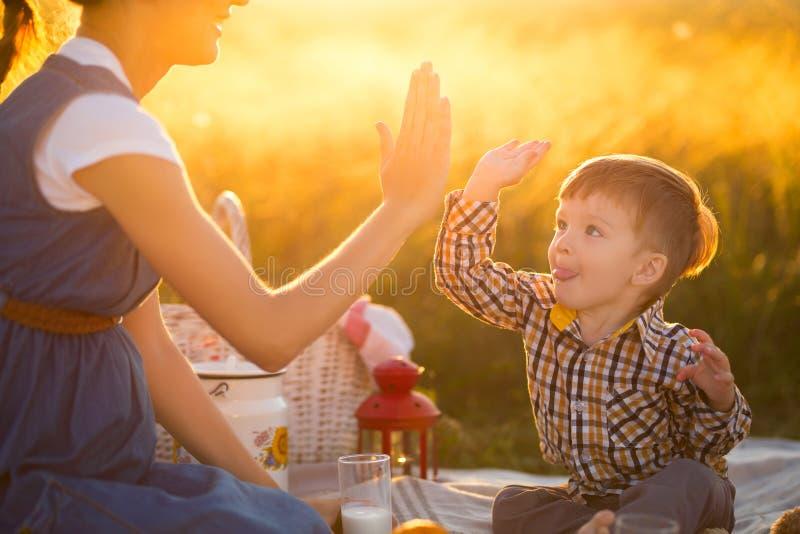 Família feliz Mãe grávida e filho pequeno em um piquenique O conceito do estilo de vida e da infância imagens de stock royalty free