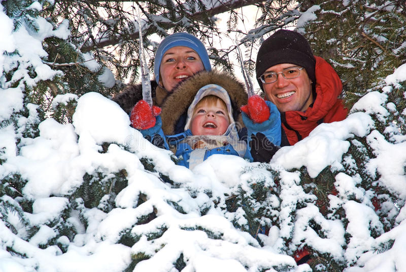 Família feliz na árvore de abeto da neve imagens de stock