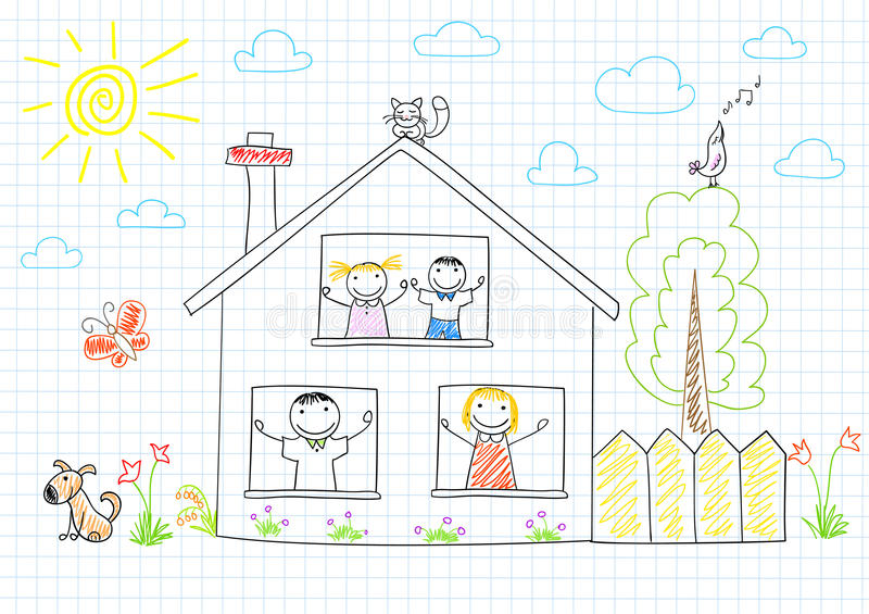 Família feliz na casa nova ilustração royalty free